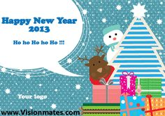 Happy New Year 2013 elements as winter deer, snowman, Christmas present boxes, Christmas tree, snow and snowflakes. Get Happy New Year 2013 elements premium vector in Adobe illustrator.
