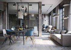 Una cocina abierta al salón de aire industrial · An industrial style open space…