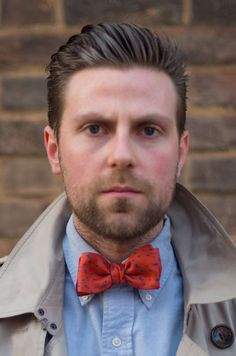 Tom wearing Charles Olive bow tie: 'Johnson' Red / Teal http://charlesolive.com/