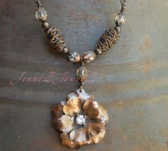 Rich Copper Flower Handcrafted wire beads and by JenniZJewelZ