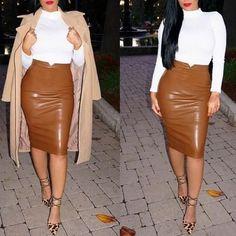 Fashion Women Pu Faux Leather Skirt High Waist Bodycon Tight Stretch Female Pencil Midi Skirts