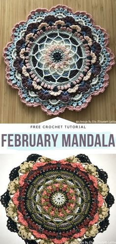 How to Crochet February Mandala - - Wildflower Mandalas will surely surprise you with their fresh charm. They will also make you think of the first days of spring. Think about these mandalas. Crochet Geek, Crochet Home, Diy Crochet, Crochet Crafts, Crochet Projects, Crochet Afghans, Crochet Squares, Crochet Stitches, Dishcloth Crochet