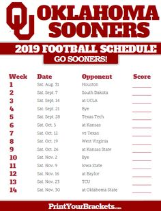 Ou 2020 Football Schedule 16 Best College football schedule images in 2018 | Notre dame