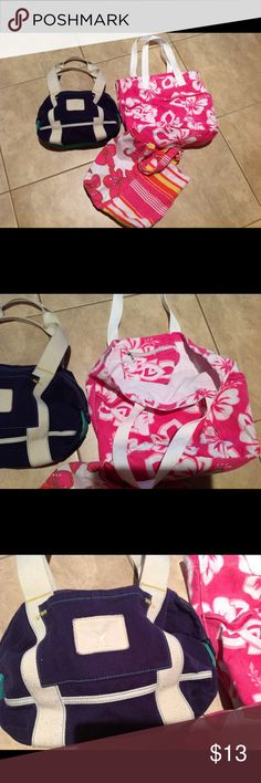 Canvas bag bundle All for great price include large thick canvas bag with plastic lining at bottom, thin small canvas for misc, and AE canvas purse all on good condition. American Eagle Outfitters Bags Totes