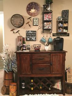 Here are 30 brilliant coffee station ideas for creating a little coffee corner that will help you decorate your home. See more ideas about Coffee corner kitchen, Home coffee bars and Kitchen bar decor, Rustic Coffee Bar. Wine And Coffee Bar, Coffee Bar Home, Coffee Bars, Tea Bars, Coffee Bar Station, Home Coffee Stations, Beverage Stations, Wine Station, Tea Station
