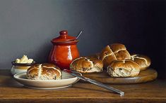 I think Hot Cross Buns should not be saved just for Good Friday, they most definitely should be enjoyed all year round! The buns are undoubtedly the star of Still Life Pictures, Italian Olives, Light Study, Food Painting, Hot Cross Buns, Tea Art, Still Life Art, Good Enough To Eat, Slow Food