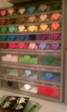 That is a LOT of perler beads o.o Perler bead storage by RAWRmonster Hama Beads Design, Diy Perler Beads, Perler Bead Art, Pearler Bead Patterns, Perler Patterns, Bead Storage, Bead Organization, Art Storage, Peler Beads