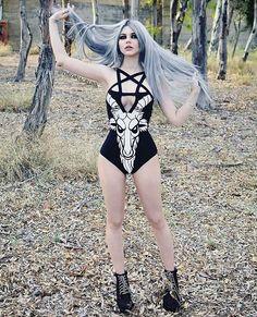 Goat head pentagran black one piece @dayanacrunk #goth #gothgoth #gothgirl…