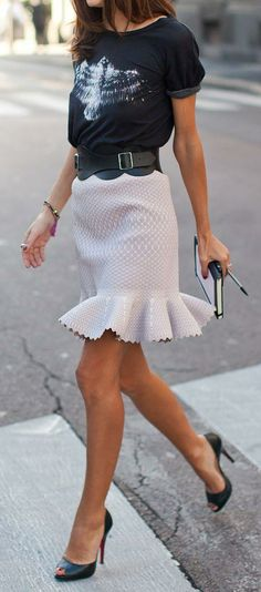 casual tee and flirty trumpet skirt