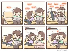 """Sappy Relationship Comics That Might Give You Diabetes - Funny memes that """"GET IT"""" and want you to too. Get the latest funniest memes and keep up what is going on in the meme-o-sphere. Cute Couple Comics, Couples Comics, Cute Comics, Funny Comics, I Need Cuddles, Funny Cute, Hilarious, Relationship Comics, Relationship Goals"""