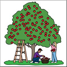 Clip Art: Kids Picking Apples 01a Color - <p>Children picking apples clip art in color is ready to re-size and use in newsletters, poster, or on bulletin boards. Nice seasonal image.</p>