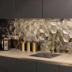 Add the midas touch into your interiors with these Gold Ore Hexagon Tiles. Part of our selection of Elation Textured Hexagon Tiles, they're suitable for use . Kitchen Pantry Design, Luxury Kitchen Design, Kitchen Tiles, Home Decor Kitchen, Interior Design Kitchen, Interior Decorating, Kitchen Cabinets, Kitchen Organization, Eclectic Kitchen