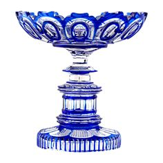 Antique Bohemian Royal blue overlay cut to clear crystal Bowl