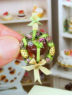 Miniature Food #Easter Hanging Decoration - Chocolate Rooster - French Food in 12th Scale