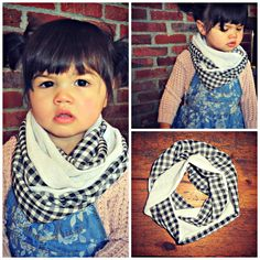 So cute - check out this Etsy site! There are also Mommy/Daughter matching scarves! Toddler Scarf, Toddler Girl, Infinity, Scarves, Youth, Daughter, Spring Summer, Black And White, Crochet
