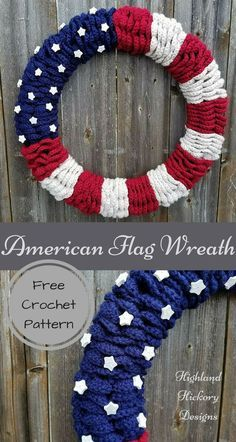 Crochet the American Flag Wreath. Free Pattern. This is a beginner level pattern with some minor sewing.