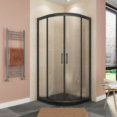 Black Shower Tray, Black Tray, Small Bathroom, Bathroom Ideas, Quadrant Shower Enclosures, Bathroom Installation, Tempered Glass Door, Shower Cubicles, Glass Shower Doors