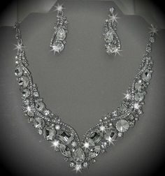 Crystal Necklace Post Earring Teardrop Long Wedding Bridal Chunky Bib Rhinestone