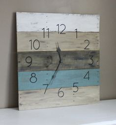 Pallet Wood Wall Clock. LARGE. Reclaimed Wood. Beach house Style. Home Decor. Teal. Modern Meets Rustic