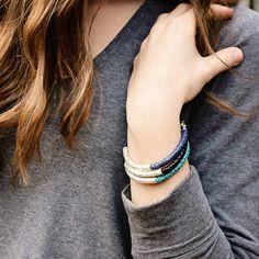 Leather Bangle Bracelet Hammered Silver / Eco Friendly Teal Navy Blue Black, Modern Safari / Spring Fashion Boho Tribal Stacking Bracelet on Etsy, $127.00