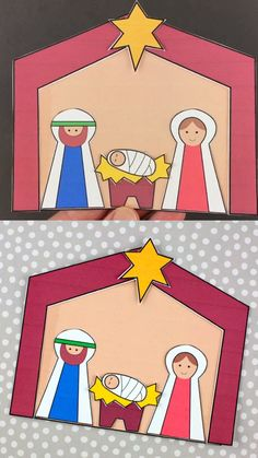 Christmas nativity craft for preschoolers and older kids. Great Jesus Is Born craft made with paper and printable template. Good for Christmas Sunday School lesson. Mary, Joseph, baby Jesus, stable and star craft template. Preschool Christmas Crafts, Halloween Crafts For Toddlers, Christmas Crafts For Kids To Make, Nativity Crafts, Christmas Nativity, Christmas Activities, Kids Christmas, Toddler Crafts, Christmas Sunday School Lessons