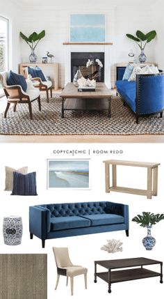 Copy Cat Chic Room Redo | Coastal Glam Living Space
