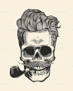 Buy Skull T-Shirt Print by FoxyImage on GraphicRiver. Hipster skull silhouette with mustache, beard, and tobacco pipes. Sticker that represents skull character. Skull Tattoos, Body Art Tattoos, Tattoo Drawings, Cool Tattoos, Pretty Tattoos, Mens Tattoos, Tattoo Ink, Future Tattoos, Tattoos For Guys