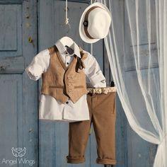 Βαπτιστικό Σύνολο Μπεζ με Καφέ | Angel Wings 097 Kids Clothes Boys, Kids Boys, Boy Christening, Boy Outfits, Baby Boy, Coat, Jackets, Street Styles, Bb