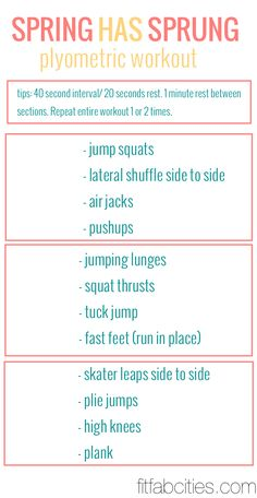 Printable Workout: Spring Has Sprung - Plyometric  Workout. Great workout to start getting in shape for bathing suit season!