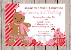 Printable Invitation - Sweet Gingerbread for Girls - Winter Candyland Party on Etsy, $12.00
