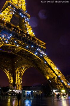 Night Lights - Eiffel Tower, Paris, France - Copyright Kelly Sandos Photography