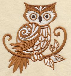 2 gorgeous Owl with Flourish embroidered fabric quilt blocks squares