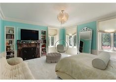 A great way to brighten up a #teen #bedroom is by adding a pop of #color to the walls.  Glencoe, IL $6,950,000