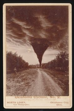 Oklahoma Cyclone No. 2 not sure of date but looks to be late 1800-1900 from clothing worn by onlookers.