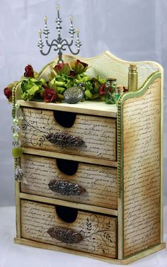 A random on purpose life: Altered Chest of Drawers ~ I'm rethinking a plan I had for an old jewelry box now...