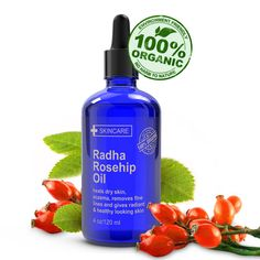 Pure Radha Rosehip Oil from Radha Beauty. Just ordered this! Excited to see how well it works! Organic Rosehip Oil, Rosehip Seed Oil, Rosehip Oil Benefits, Essential Oil Distiller, Organic Essential Oils, Organic Oils, Skin Brightening, Natural Oils