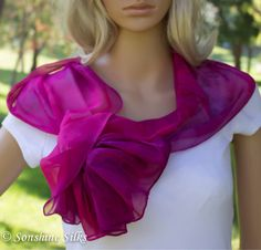 Rainbow Silk Scarf on Raspberry by SonshineSilksbyAngie on Etsy How To Wear Scarves, Wearing Scarves, Hydrangea Colors, Special Girl, Shades Of Purple, Silk Chiffon, Every Girl, Pretty In Pink, Pink Dress