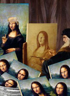 Leonardo struggling to paint Mona = art humor Monnalisa Kids, Mona Friends, La Madone, Mona Lisa Parody, Mona Lisa Smile, Famous Pictures, Collage, Italian Artist, Op Art