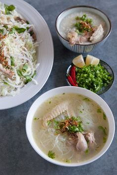 Chicken on the bone is the star of this homey Vietnamese meal made up of chicken salad, chicken glass noodle soup, and chicken congee (rice porridge).