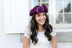 Purple Roses Flower Crown Headpiece | bridal headpiece by BHD