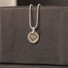 Heart stamped Circle Tiny Pendant and Chain £20.00