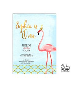 Flamingo Birthday Invite / Blue Pink Gold by LuckyPlumStudio