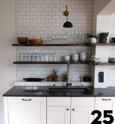Subway tiles and shelves