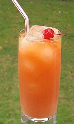 Zombie - Halloween - orange and pineapple juices, grenadine, Amaretto, Bacardi 151, apricot brandy, dark or spiced rum, light rum.