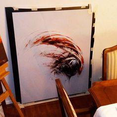 "Preparing for Europe, here's the 1st print+frame test for ""Giger""(originally made for private commission); 137x117cm. Pic isn't the best but it really looks impressive ☺☺☺  Preparándome para Europa, ésta es la primera prueba de impresión + enmarcado para ""Giger"" (encargo privado);137x117 cm. La foto no le hace justicia pero en la realidad se ve impresionante 😉😉😉😉  :-) #artedigital #arte #canvas #prints #printed #framed #digitalart #digitalpainting #tela #telas #arteabstracto #art… Digital Art, Painting, Instagram, Tela, Abstract Art, Impressionism, Making Envelopes, Photos, Painting Art"