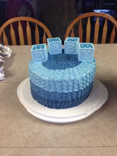 Baby Boy shower cake...I like the different shades of blue on this one! Another cute but simple one :)