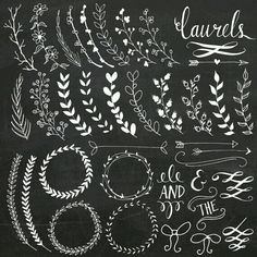 Chalkboard Laurels & Wreaths Clip Art // Clipart Photoshop Brushes // Hand Drawn // Ribbon Foliage Leaves // Vector Files // Commercial Use Chalkboard Designs, Chalkboard Art, Chalkboard Clipart, Chalkboard Doodles, Chalkboard Border, Art Floral, Chalk Wall, Chalk Board Wall Ideas, Chalk Lettering