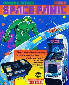WEBSTA @favoritevideogamessince71 Space Panic (1980 Arcade By Universal). Space Panic is a 1980 arcade game designed by Universal Entertainment Corporation. Often called as the granddaddy of all platform games, it predates Nintendo's Donkey Kong (from 1981) which is often cited as the original platform game. Space Panic lacks jump mechanic and the main character instead digs holes in the platforms into which he must lure the aliens.