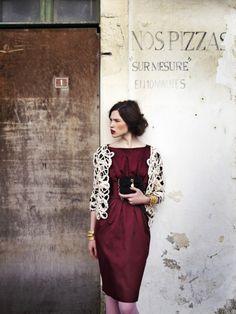 burgundy dress