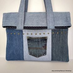 Recycled Jean Bag-Recycled Jean Tote-Blue Jean Tote-Lap Top Bag Jean Crafts, Denim Crafts, Denim Purse, Jeans Denim, Recycled Fashion, Recycled Denim, Denim Ideas, Recycle Jeans, Jean Bag